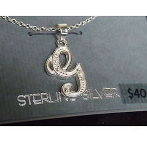 sterling silver letter G Y charm pendent necklace